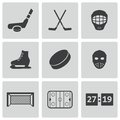 Vector black hockey icons set on white background Royalty Free Stock Image