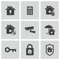 Vector black home security icons set Royalty Free Stock Photo