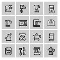 Vector black household icon set Stock Photos
