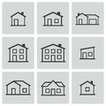 Vector black houses icons set this is file of eps format Royalty Free Stock Image