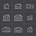 Vector black houses icons set this is file of eps format Stock Photos