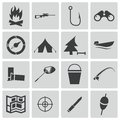 Vector black hunting icons set Royalty Free Stock Photo