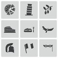 Vector black italian icons set on white background Stock Images