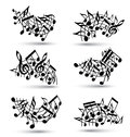 Vector black jolly staves with musical notes decorative major arched set of notation symbols Royalty Free Stock Photography