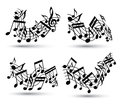 Vector black jolly wavy staves with musical notes on white background, decorative set of musical notation symbols.