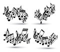Vector black jolly wavy staves with musical notes on white background decorative set of notation symbols Stock Images