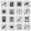 Vector black justice icons set Stock Photography