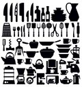 Vector black kitchen tool icons set on white Stock Photo