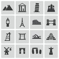 Vector black landmark icons set this is file of eps format Royalty Free Stock Photography