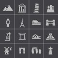 Vector black landmark icons set this is file of eps format Royalty Free Stock Image