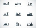 Vector black landmarks icons set on white background Royalty Free Stock Photography