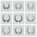 Vector black laurel wreaths icons set on white background Royalty Free Stock Photo