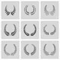 Vector black laurel wreaths icons set on white background Royalty Free Stock Photo