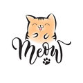 Vector black lettering Meow with cute smiling cat