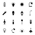 Vector black light icons set on white background Stock Photography