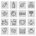 Vector black line baby icons set Royalty Free Stock Photo