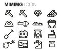 Vector black line mining icons set