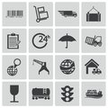 Vector black logistic icons set Royalty Free Stock Photography