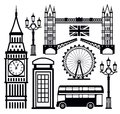 Vector black london icon set on white Stock Images
