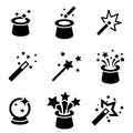 Vector black magic icons set. Royalty Free Stock Photo
