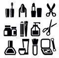 Vector black make up icons set white Stock Photos