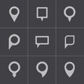 Vector black map pointer icons set this is file of eps format Stock Photos