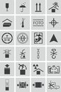 Vector black marking cargo icons set Stock Photos