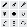 Vector black microphone icons set Royalty Free Stock Photo