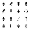 Vector black microphone icons set on white background Royalty Free Stock Images