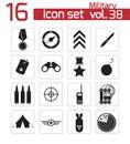 Vector black military icons set Stock Photos