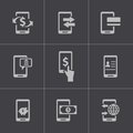 Vector black mobile banking icons set this is file of eps format Stock Image