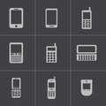 Vector black mobile phone icons set this is file of eps format Royalty Free Stock Image
