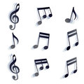 Vector black monochromatic musical notes and symbols isolated on white background Royalty Free Stock Photos