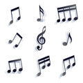 Vector black monochromatic musical notes and symbols isolated on white background Royalty Free Stock Image