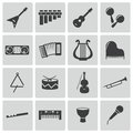 Vector black music instruments icons set this is file of eps format Stock Image