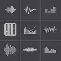 Vector black music soundwave icons set this is file of eps format Stock Photo