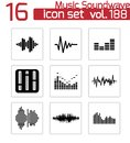 Vector black music soundwave icons set white background Stock Photo
