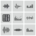 Vector black music soundwave icons set white background Stock Photos