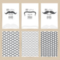 Vector black Mustache set of Vintage pattern background banner Royalty Free Stock Photo