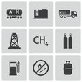 Vector black natural gas icons set this is file of eps format Stock Images