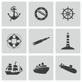 Vector black nautical icons set white background Stock Photo