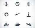 Vector black nautical icons set white background Royalty Free Stock Photos