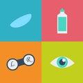 Vector black optometry icon set. Optician, ophtalmology, vision correction, eye test, eye care, eye diagnostic