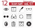 Vector black optometry icons set Stock Images