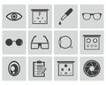 Vector black optometry icons set Royalty Free Stock Images