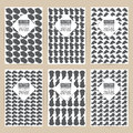 Vector black pattern set of Vintage background banner retro brochures templates cards six frames design Scribbled lines rectangles Royalty Free Stock Photo