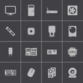 Vector black pc components icons set this is file of eps format Stock Photography