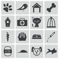 Vector black pet icons set Stock Photo