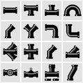 Vector black pipe fittings icon set Royalty Free Stock Photo