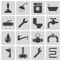Vector black plumbing icons set Royalty Free Stock Photo